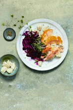 Hot smoked salmon with pickled red cabbage