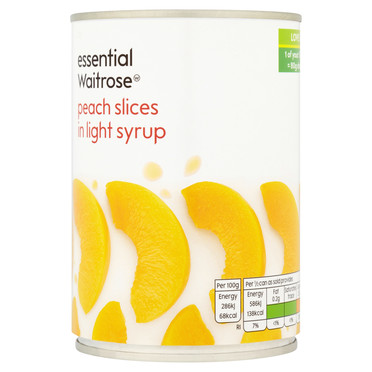 essential Waitrose Peach Slices In Light Syrup